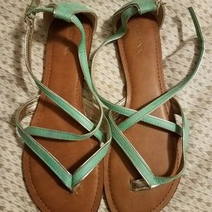 Merona mint green and gold sandals